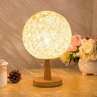 קש פשתן בציר מנורת שולחן עץ E27 אור AC90-260V Creative שולחן קישוט לצד המיטה בחדר שינה חם ומסוגנן