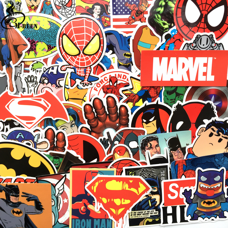New 50 Pcs/lot Stickers For Marvel Super Hero Dc For Car Laptop Notebook Decal Fridge Skateboard Batman Superman Hulk Iron Man