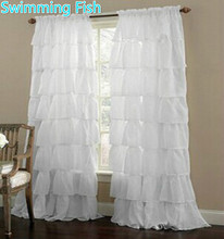 Multi layer Lace font b Curtain b font for Girl s Bedroom Semi shade Blinds Sheer