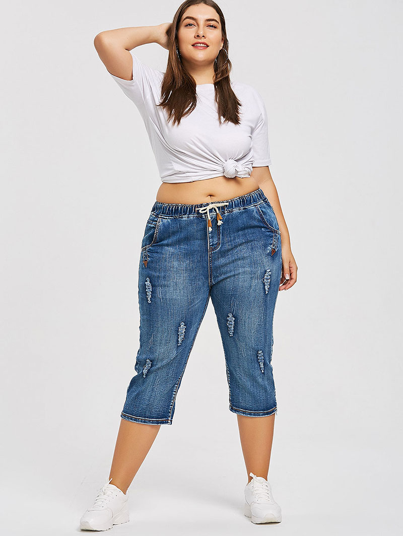 96a4968a62f PlusMiss Plus Size 4XL Drawstring Waist Boyfriend Capris Jeans Mom Women  Loose Ripped Distressed Denim Cropped Pants Big Size