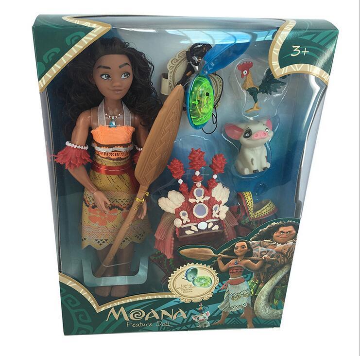 28cm Princess Moana Doll With Music And Lighting Kawaii PVC Action Figure Toy Anime Come Plush Toys With Original Box Kids Gifts
