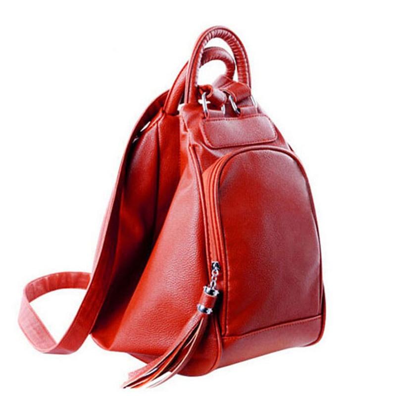 Tassel Women's Backpacks Casual Leather School Backpack Travel Backpack For Women Multifunction Ladies Shoulders Bag Tote 6059