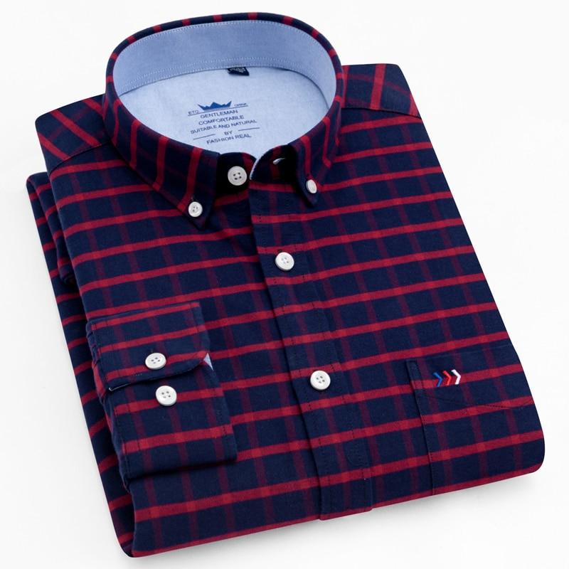 Men's Long Sleeve Plaid Striped Dress Shirts Single Front Chest Pocket Regular Fit Button-collar Cotton Oxford Social Shirt Male