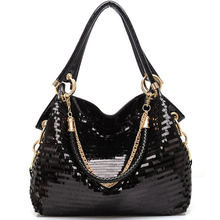 Fashion Leather Women Sequined Handbags High grade Sequins Ladies Shiny Handbags Chain Shoulder Bag Famous Brand