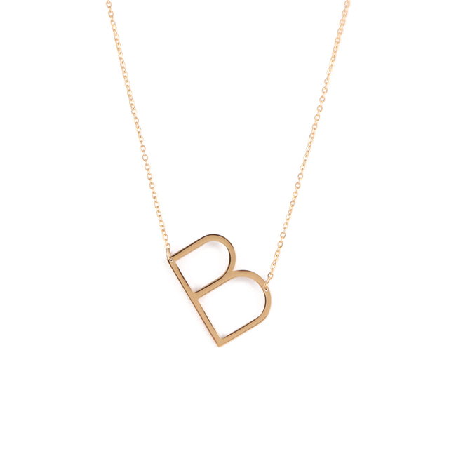 9c5e45acff8d 2018 Women's Classic Stainless Steel Big Letter Necklace Initial Chain  Script Pendant Name Necklace ( Letters A-Z Available)
