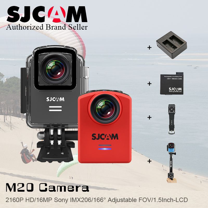 (Genuine)SJCAM M20 WiFi Gyro Mini Action Camera 16MP Cameras Sports Sj Cam DV+2 Battery+Dual Charger+Remote Watch+Remote Monopod original sjcam sj6 legend accessories battery selfie stick monopod wrist remote dual charger for sj cam sj6 legend action camera