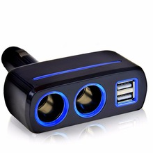 Multi socket Auto car cigarette lighter splitter dual USB charge adepte with 2 black