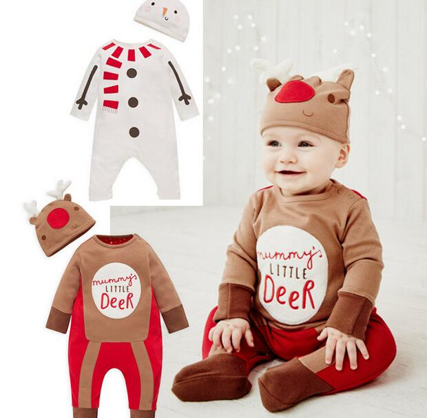 FJ-18 Christmas Baby Boy Girl Rompers Costume Kids Newborn Clothes Long  Sleeve Children Infant Clothing Top+Hat - Bosudhsou.] FJ 18 Christmas Baby Boy Girl Rompers Costume Kids
