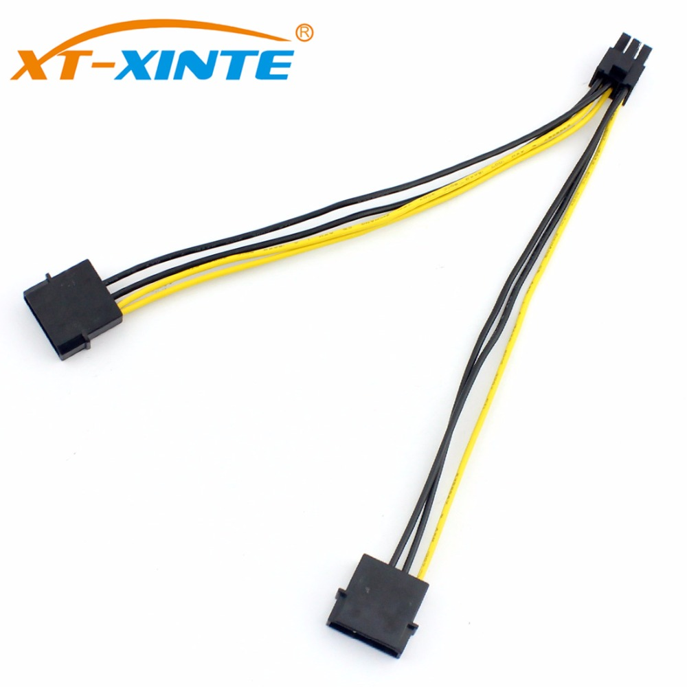 Dual Large 4Pin To 6Pin Power Supply Cable Graphics Card Cable For Molex PCI-Express Adapter Converter Cord 18AWG 20cm For Miner