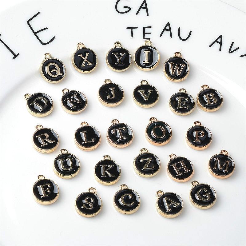 10pcs/26pcs  Alphabet Letter Double Face Enamel Charms  Gold color 41*24mm pendants jewelry making Handmade craft 6