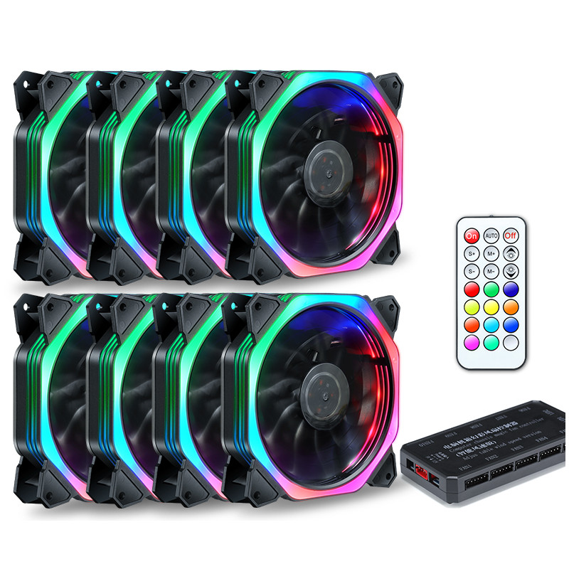 120mm Quiet + IR Remote New computer Cooler Cooling RGB Fan CPU Computer Case PC Cooling Fan RGB Adjust LED For Computer Case