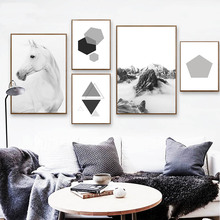 Scandinavian Mountain Horse Canvas Art Posters and Prints Nordic Style Geometry Abstract Painting Wall Pictures Unframed