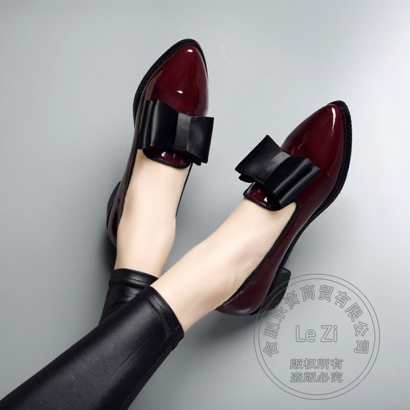 ФОТО Korean Womens Shoes Vintage Shoes Leather Shoes Plain Glossy Mixed Colors Slender British Style Glamour All Match Pu