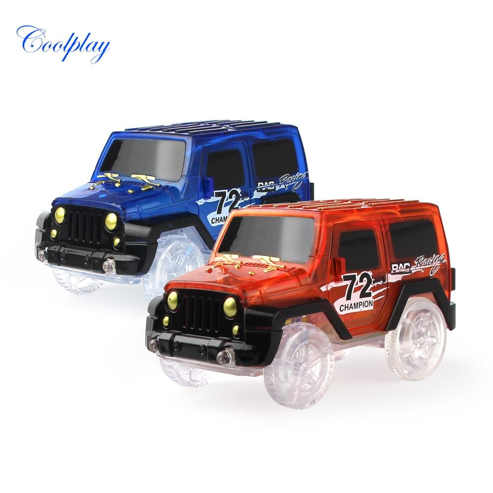 Electronic LED Car Flashing Toys Vehicles Mini Race Track Car Flexible Racing Car Model Glowing Race Track Toys For Kids }