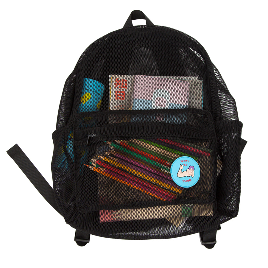 YIZI Portable macaron colored transparent mesh cloth backpacks for girls and boys [FUN KIK]