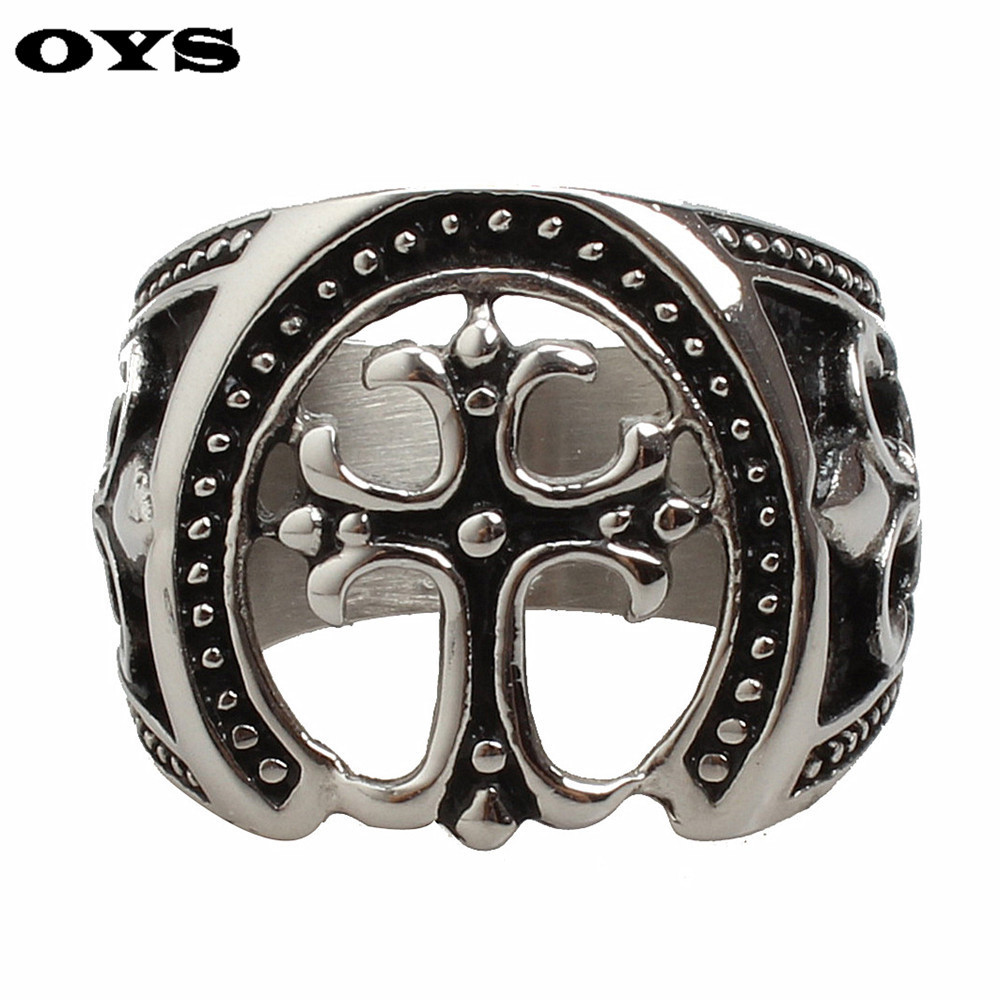 New Arrival Statement Titanium Jewelry Mens Rings 316L Stainless Steel Hollow Cross Ring For Men Fashion Jewelry G490A7