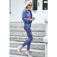 Fashion Two Piece Set Floral Embroidery Floral Denim Jackets And Jeans Pants Suit Women Long Sleeve
