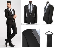 tailor made 2015 Hot Slim fit one Button Groom Tuxedos Best Man Black Light Gray Custom Men Wedding Suits Dress Jacket+Pants+Tie