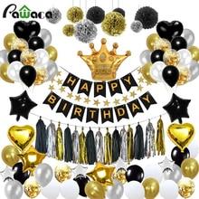 92 Cái/lốc Đen Vàng Series Cho Tiệc Bóng Bộ Ngủ Ngon Mô Hoa Giấy Sinh Nhật Tiếp Liệu