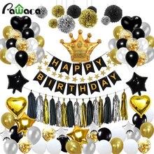92 Stks/partij Zwarte Goud Serie Party Decoratie Ballon Set Gelukkige Verjaardag Gelukkige Verjaardag Tissue Papieren Bloem Verjaardagslevering