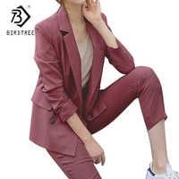 Double Breasted Striped Blazer Jacket & Zipper Pant Work Pants Suits 2 Piece Sets Office Lady Suits Women Outfits Autumn S7D323L