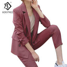 Double Breasted Striped Blazer Jacket & Zipper Pant Work Pants Suits 2 Piece Sets Office Lady Suits Women Outfits Autumn S7D323L