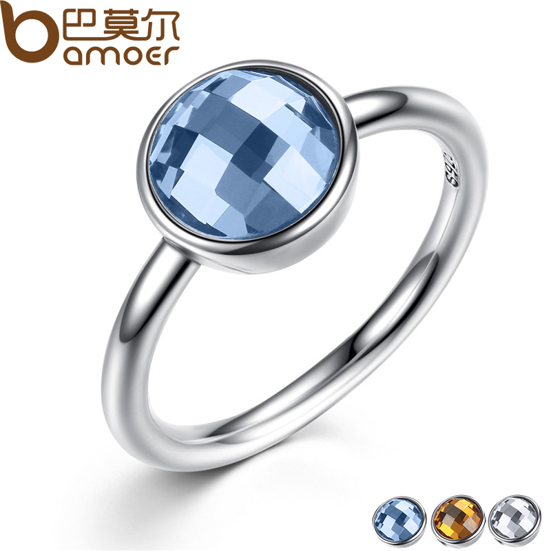 BAMOER Summer Collection Pure 925 Sterling Silver Rings Blue Imitated Stone Finger Ring Women Fine Jewelry
