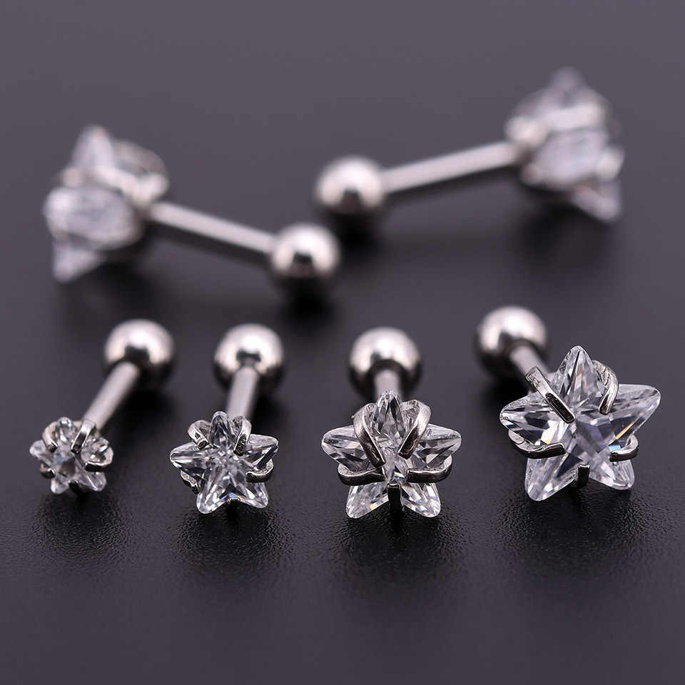 1pc Minimalist Small Cute Flower Cubic Zirconia Gold Silver Black Color Anti-allergy 316L Stainless Steel Stud Earring For Women