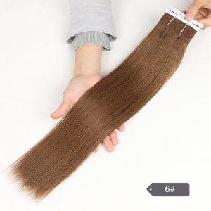 Image 3 - Şık Çift Çekilmiş Brezilyalı Yaki düz insan saçı Örgü Demetleri Remy Saf Renk Kahverengi Bordo Kırmızı 99J Saç Demetleri 113g
