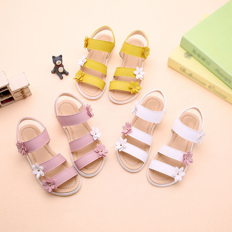 Summer Beach Baby Girl Flat Sandals Strappy Flowers Kids Toddler Shoes 775 S7JN
