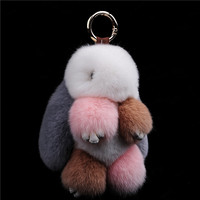 Leather And Fur Pom Pendant Rex Rabbit S Hair Bag Automobile Key Holder Ring Chain Jewelry