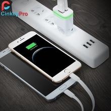 CinkeyPro EU USB Charger 5V 2A with 2 USB Ports and LED Light