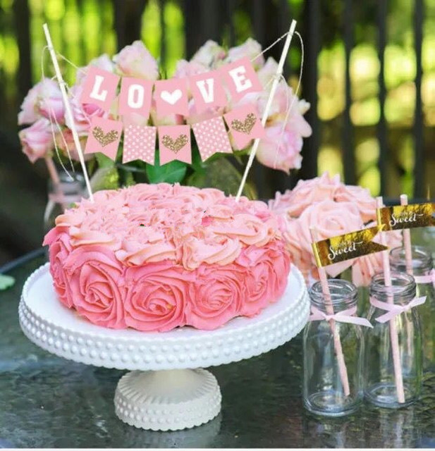 Handmade Love Cake Bunting Wedding Party Cake Topper Gold Heart Two