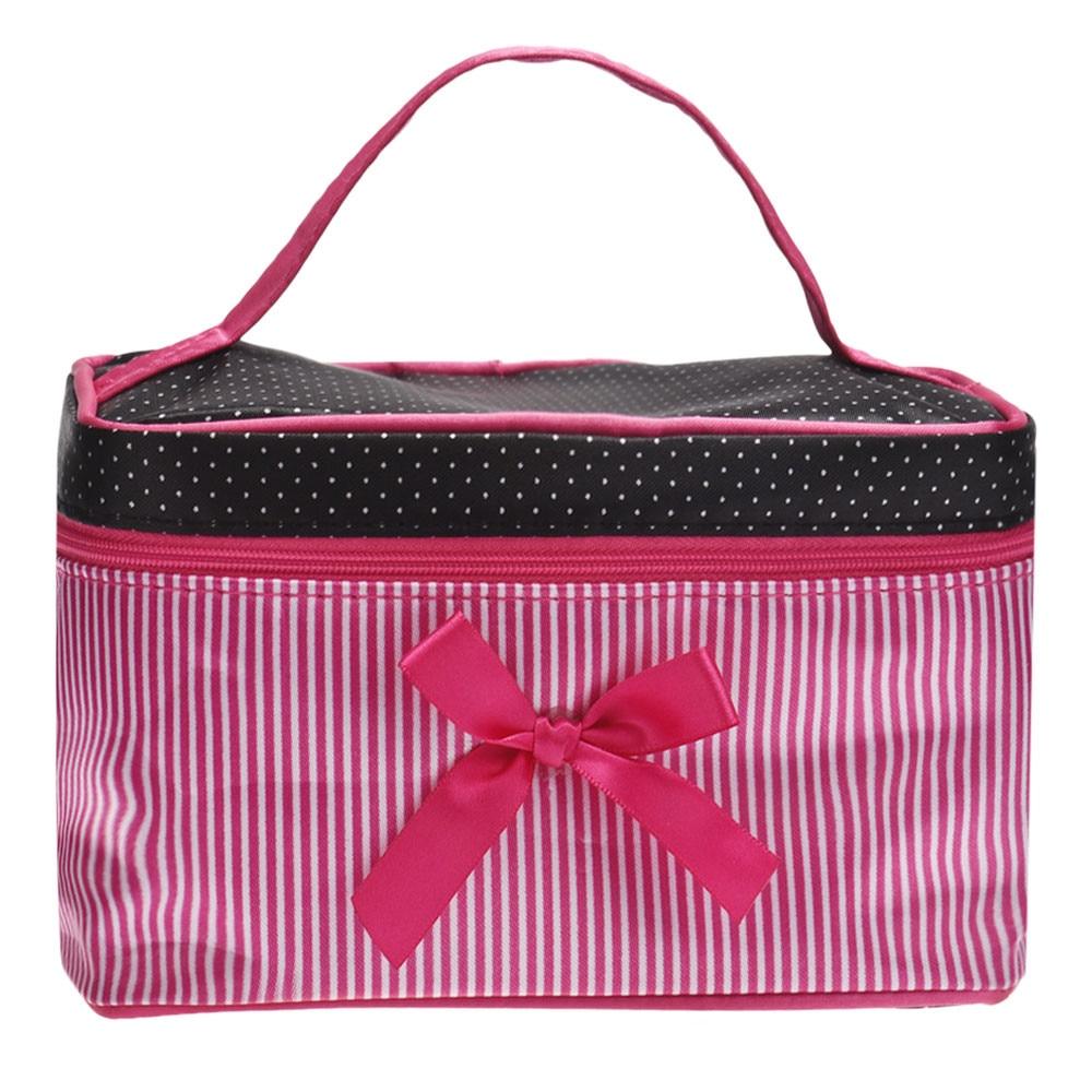 Makeup Bag Square Bow Stripe Cosmetic Bag Makeup Train Case Organizer Travel Transparent Bag Manicure Suitcase Organizer For Tr