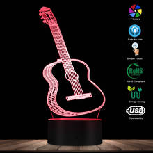 Guitar LED Night Light Kids Lamp Lighting Room Decoration Music Instrument 3D Visual Illusion Night Light Gift For Guitar Lovers