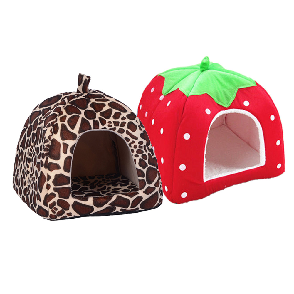 Foldable Soft Winter Leopard Dog Bed Strawberry Cave Dog House Cute Kennel Nest Dog Fleece Cat Bed House