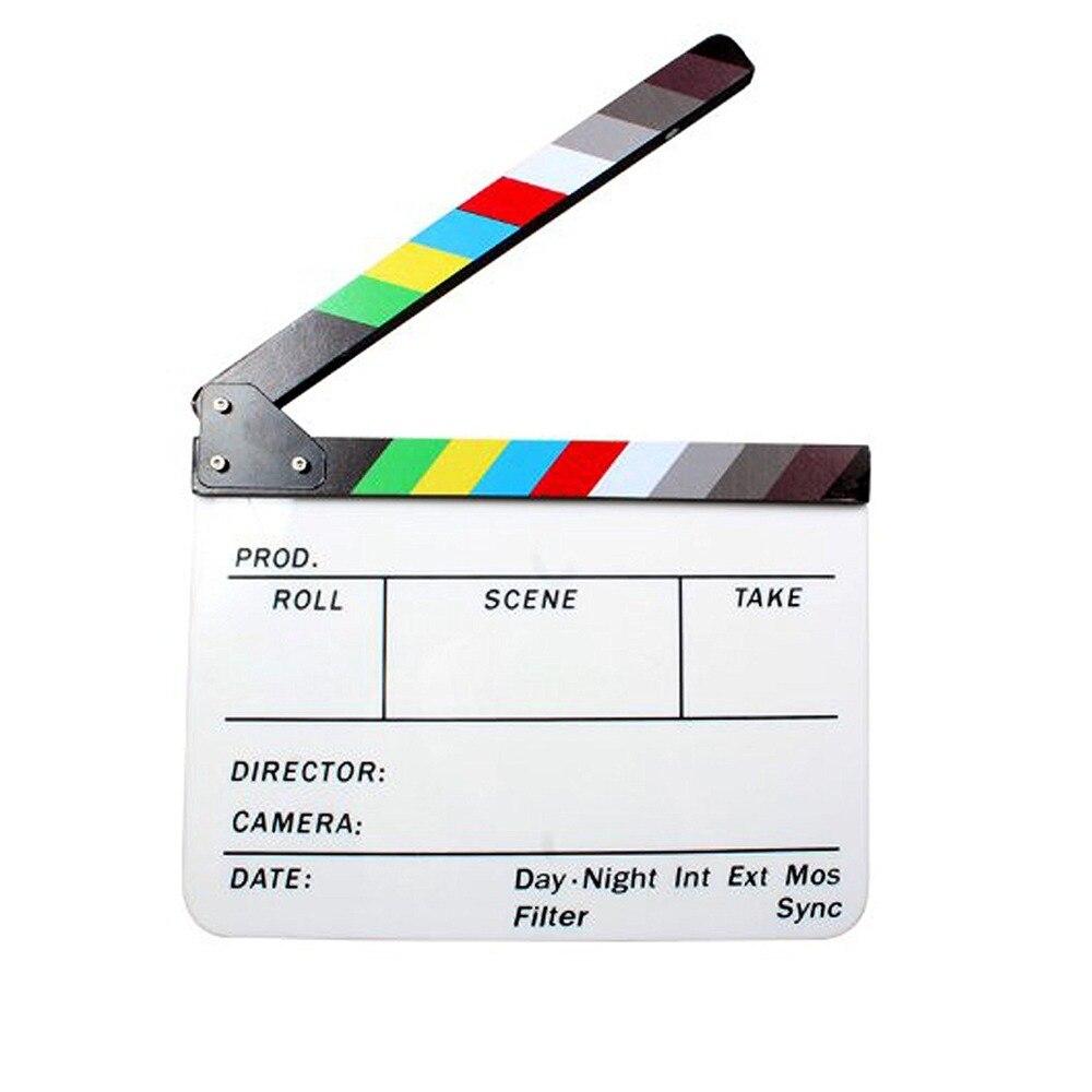 ASHANKS Coloré Bardeau Clapet Conseil Acrylique Effaçable À Sec Directeur TV Film Film D'action Slate Clap Coupé À La Main Prop avec Bâton