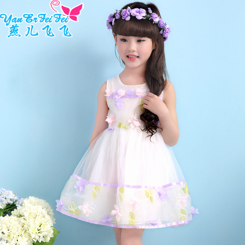 2016 new baby girl summer wear small pure and fresh and stereo flower children's princess dress dress tide 2-11 Year