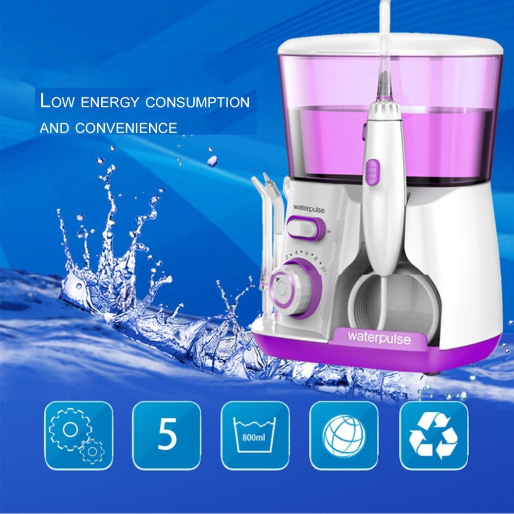 Waterpulse Purple V300R 100-240V Oral Irrigator Water Jet Pick 800ML Capacity Tooth Cleaner Dental Floss Teeth Flosser Hydro Set oral irrigator dental whitening water teeth flosser electric tooth cleaner machine tooth device with uv sanitizer
