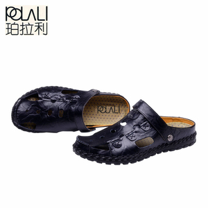 Image 4 - POLALI Size 38 44 Men Sandals Genuine Leather Fashion Summer Shoes Men Slippers Breathable Mens Sandals Causal Shoes Leather