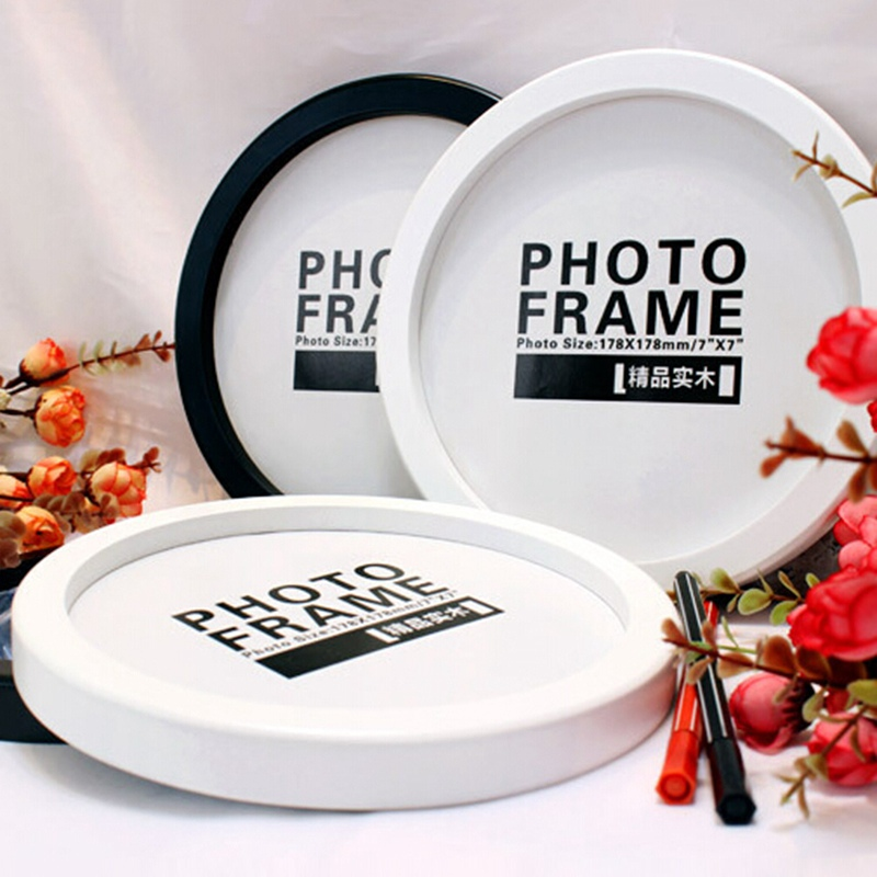 Hanging Wall Mounted Picture Frames Holder Round Photo Frame DIY Wooden Photo Frames Creative Gifts Living Room Home Decoration
