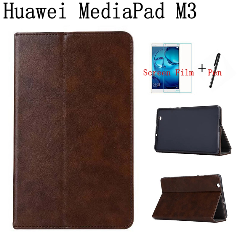 Luxury Vintage Smart Leather Cover for Huawei MediaPad M3 BTV-W09/DL09 8.4 Tablet Case With Card Slot+Free Screen Protector+Pen mediapad m3 lite 8 0 skin ultra slim cartoon stand pu leather case cover for huawei mediapad m3 lite 8 0 cpn w09 cpn al00 8