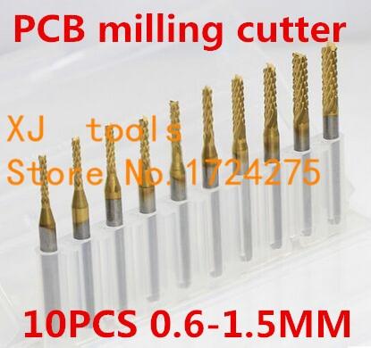 Millinging Cutters Kit For Engraving Milling Machine 10pcs Titanium Coat Carbide 0.6-1.5mm Pcb Carbide Tools Cnc Cutting Bits