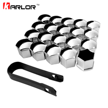 20Pcs Universal Anti Rust 17 19 21mm Chrome Glossy ABS Auto Trim Tyre Wheel Nut Screw Bolt Protection Covers Caps Car Styling