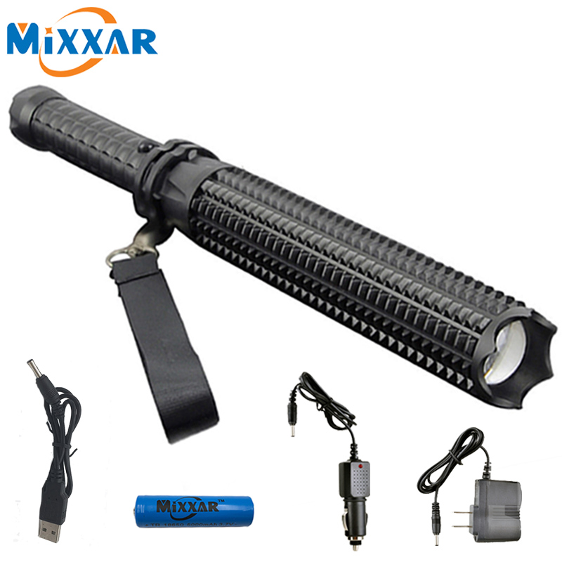 ZK20 Powerful 9000LM L2 Led Flashlight 18650 Telescopic baton Dropshipping Self defense Police Patrol Rechargeable Torch Lamp