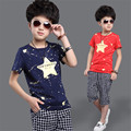 New Style Summer 2017 Boys Sport Sets Fashion Star Shirts+Pants 2 Pieces Suit Casual O-Neck Pullover Clothing For 6-15Y Hot Sale