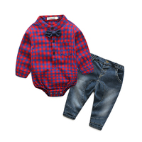 Kimocat Spring Newborns Boy Clothes Plaid Casual Set Long Sleeved Rompers Shirts Jeans Baby Boys Clothes