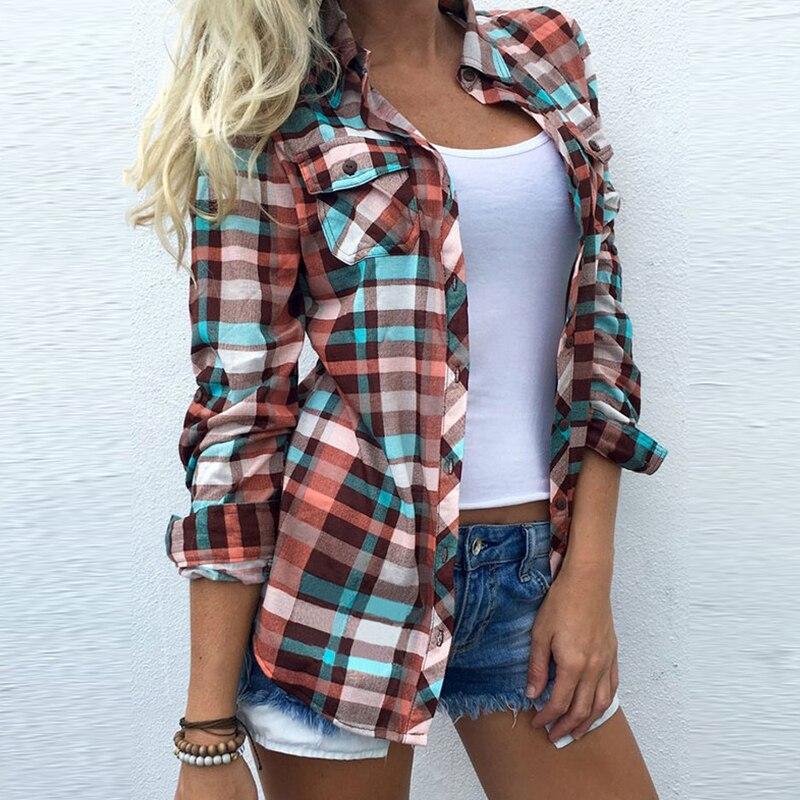 womens fashion long sleeve top plaid blouse shirt pop vintage autumn winter shirts