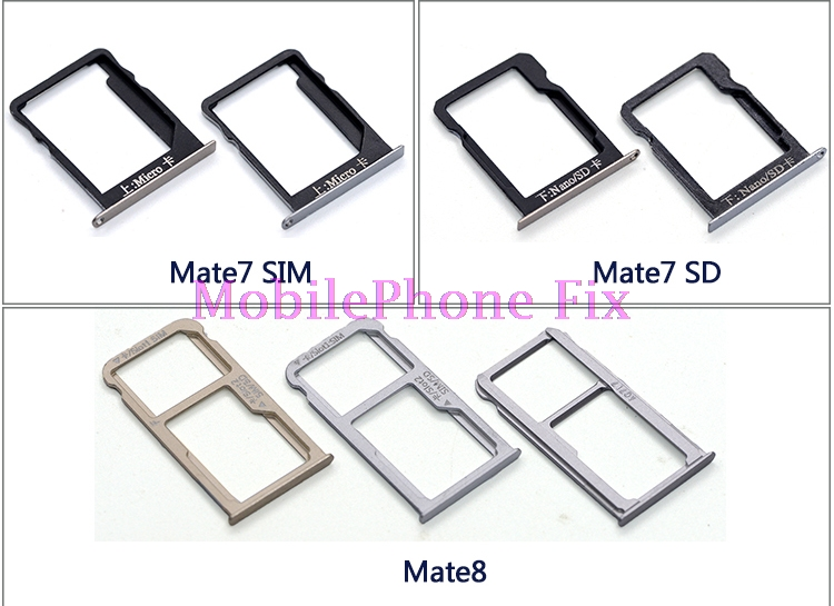 10 PCS/Lot Sim+SD Card Tray For Huawei Mate 7 8 S Sim Card Tray Slot Holder Replacement Parts