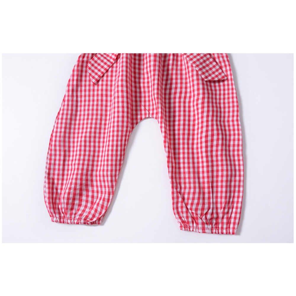 Envío de la gota CYSINCOS niñas conjuntos de verano de los niños traje de moda ropa 1 piezas de algodón pajarita de cuadros Rojo Negro mono monos